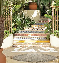 Love this awesome entrance with #tile stairs! Martyn Lawrence Bullard in Punta Mita, #Mexico