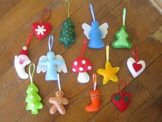 DIY felt ornaments- with leftover felt for the kids- cute and non breakable