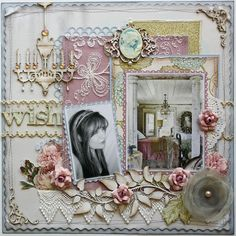 I used cardstock and Websters Pages Country Estate papers and bloom designs cut from Websters Pages Let's Celebrate  to make up this layout.  The large grey bloom, the cameo (Silhouettes), the sheer white/gold trim and the white lace butterfly netting are all by Websters Pages.  ~ by design team member Gabrielle Pollacco