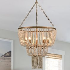 Entry Chandelier, Wood Bead Chandelier, Coastal Chandelier, Wood Bead Garland, Chandeliers, Diy Light Fixtures, Farmhouse Light Fixtures, Wow Products, Rustic Wood
