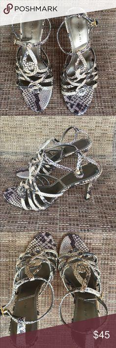 Tahari Snake skin wrap around heels Tahari Snake skin wrap around heels.  Brown and beige.  Preloved in good condition. Tahari Shoes Heels