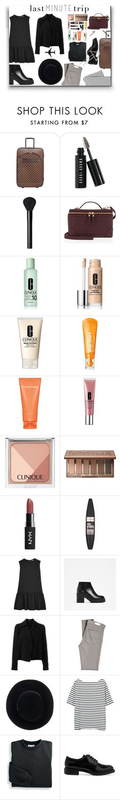 """""""Last minute trip"""" by kgarden ❤ liked on Polyvore featuring Louis Vuitton, Bobbi Brown Cosmetics, NARS Cosmetics, Henri Bendel, Clinique, Urban Decay, Maybelline, Miu Miu, Piel Leather and Theory"""