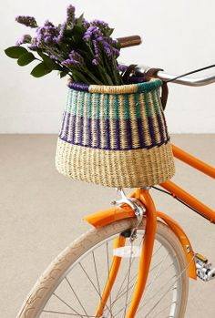 These handwoven bike baskets might be the best I've ever seen. Each basket is made by artisans for House of Talents, an organization seeking to empower artisan groups in West Africa by promoting self development. Bicycle Basket, Bike Baskets, Bike Shelf, Cycle Chic, Road Bike Women, Bike Accessories, Vintage Bikes, Cool Bikes, Upcycle