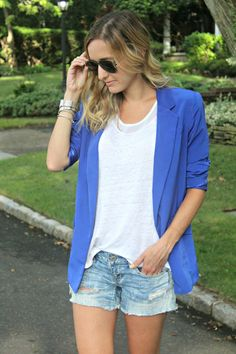 blazer with denim shorts outfit