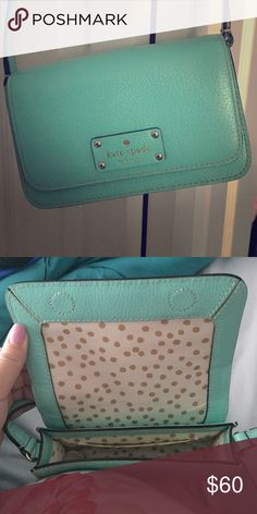 Kate Spade long strap cross body Super cute teal colored. Has long strap can go across body or on shoulder. Used once kate spade Bags Crossbody Bags