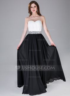A-Line/Princess Sweetheart Floor-Length Chiffon Prom Dress With Ruffle Beading (017030906)