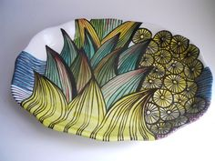 Majolica Platter Dots and Spikes by melabo on Etsy, $150.00
