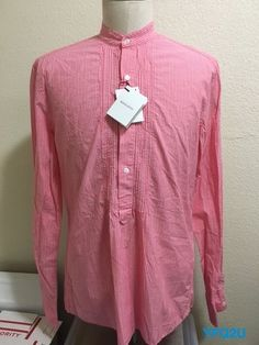 MICHAEL BASTIAN Mainline PINK STRIPE BANDED COLLAR 1/2-BUTTON POPOVER SHIRT