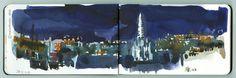Incredible sky over Paris this winter ! Moleskine, Paris 11, Travel Sketchbook, Urban Sketchers, Tapestry, The Incredibles, Sky, Watercolor, Drawings