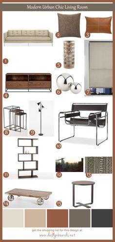 Modern Urban Chic Living Room 1   Design Boards