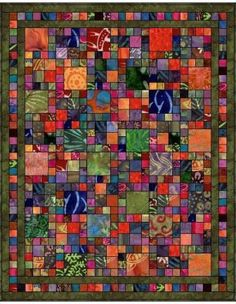 Great Scrappy Usage too....Batik Squares Quilt Pattern