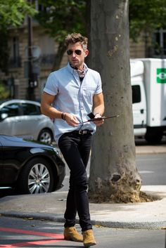 Models and influencers take to the streets of Paris to show off their style during men's fashion week.