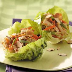 Chicken Lettuce Wraps Recipe -Filled with chicken, mushrooms, water chestnuts and carrots, these lettuce wraps are both healthy and yummy. The gingerroot, rice wine vinegar and teriyaki sauce give them delicious Asian flair. —Kendra Doss, Smithville, Missouri
