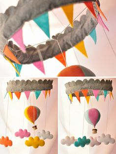 Dream You Sky mobile from A Continual Feast on Etsy, hot-air balloon, clouds, nursery decor, baby