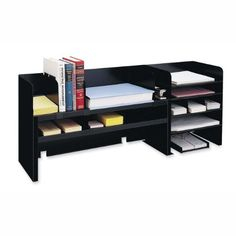 Mmf Industries 2061DOBK Desk Organizer w/Dividers, 47-1/4 in.x9-1/2 in.x18-3/8 in., Black. The scratch and chip-resistant black finish stands up to everyday use and the non-slip, non-mar padded bottom provides a scratch-free secure grip. Behind the STEELMASTER name stands 70 plus years of metal fabrication experience. 47-1/4 in. x9-1/2 in. x18-3/8 in. Since it is made in the USA with more than 50% recycled content, this is a STEELMASTER 'go-green' product.