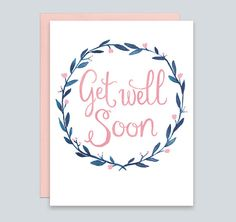 Get Well Soon Sympathy Card with Watercolor Wreath  by Leveret Paperie, Feel Better Card, Watercolor Wreath Greeting Card, Get Well Card, Card for Sick Friend