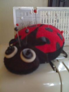 ITH Ladybug pin cushion.Free Embroidery Designs, Cute Embroidery Designs