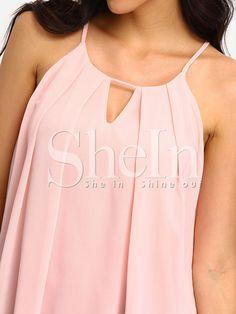Top tirante plisado cami -rosa-Spanish SheIn(Sheinside)