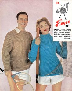 VINTAGE 1950's His and Hers Casual Sweater Knitting by Hobohooks, £1.20