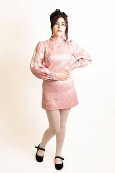 Vtg 60s 70s Mod Pink Silver Metallic Paisley by DollybirdClothing
