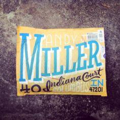 "Erik Marinovich -- ""Andy Miller"" envelope typography"