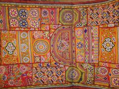 katchi textiles/vintage mirror work and patchwork wall hanging/antique/tribal textiles.
