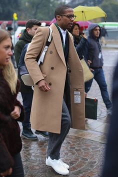 that coat...with suit and sneakers