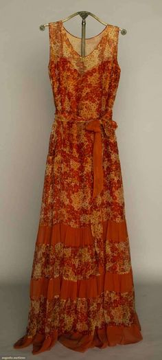 Augusta Auctions, April 17, 2013 - NYC: Printed Silk Chiffon Dress, 1930s