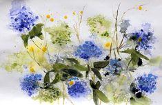 Blue Hydrangea Lilac Flowers, Blue Hydrangea, Red Roses, Bird Artists, Irish Landscape, Irish Art, Jumping For Joy, Summer Glow, Acrylic Art