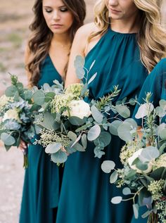Navy Blue, Sage and Teal Wedding Color Combos mismatched sage bridesmaid dresses, teal bridesmaid, white and sage wedding bouquet, summer wedding Peacock Bridesmaid Dresses, Blue Bridesmaids, Wedding Bridesmaids, Wedding Bouquets, Bridesmaid Bouquets, Wedding Centerpieces, Beach Wedding Bridesmaid Dresses, Quinceanera Centerpieces, Pageant Dresses