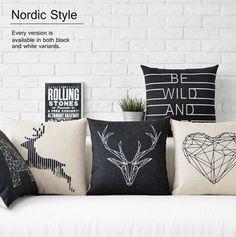 Envío libre/negro geométrico blanco y simplicidad Nordic deer algodón funda de almohada coche cojín del sofá para inclinarse encendido de 43*43