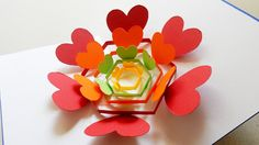 Pop up card (radiant hearts) - learn how to make a heart flower greeting...