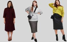 Straight cut top & skirt - Anna Scholz, H&M, Asos Curve Plus Size Body Shapes, Plus Size Bodies, Apple Body Type, Apple Body Shapes, Apple Shape Outfits, Big And Beautiful, Body Types, Short Skirts, Female Bodies