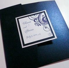 Navy Wedding Pocketfold  Sapphire and by PinkOrchidInvites on Etsy, $8.55