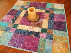 Colorful Quilted Batik Table Topper in Purple Blue Turquoise