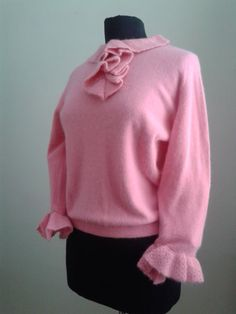 PINK Vintage 1950's French Angora by Joannesvintagecloset on Etsy