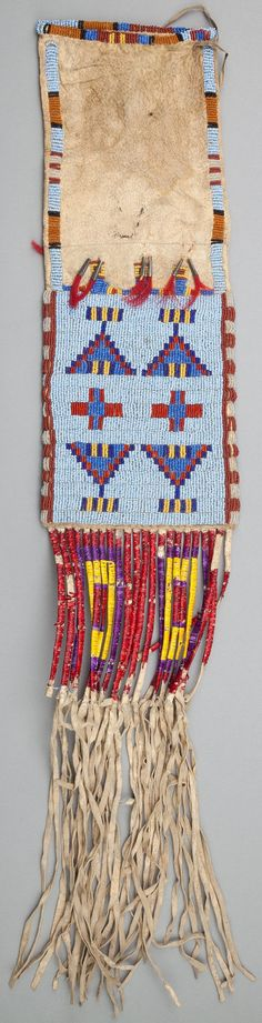 A SIOUX BEADED HIDE TOBACCO BAG. c. 1900... Image #2