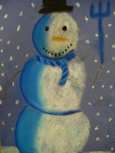 Snowmen at Night:  Chalk pastels. #lightsource   Picture book to accompany unit.