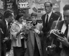 "dearfawndoe: ""Audrey Hepburn dancing with The Nun's Story (1959) director Fred Zinneman. """