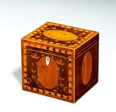 Inlaid Mahogany Cube Tea Caddy from Richard Gardner Antiques