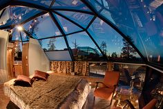 Glass Igloos (geodesic domes) in Levi, Finland.
