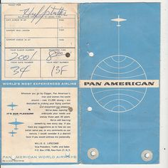 Pan Am ticket Vintage Travel Posters, Vintage Ads, Vintage Designs, Vintage Airline, Vintage Paper, Airport Tickets, Airline Tickets, Retro Design, Graphic Design