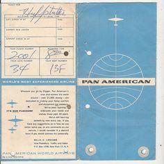 PAN AM Ticket Jacket & Boarding Information
