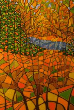 Spring - By Canadian Artist Ken Douglas Abstract Landscape, Landscape Paintings, Abstract Trees, Abstract Art, Abstract Designs, Canadian Artists, Canadian Painters, Gourd Art, Mosaic Art