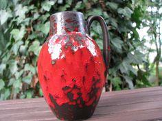1960s Vase – Scheurich No. 414 16 – Red & Black Glaze – Vintage Sixties Mid Century Home Decor – German Pottery WGP – Fat Lava von everglaze auf Etsy