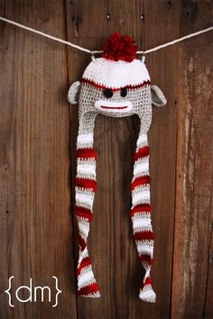 Sock MonkeyExtra Long TasselsNewbornPhotography by meganbmalone, $45.00