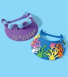 Embellished Craft Foam Visors. Great craft for kids to do at a birthday party.