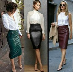 Leather skirt for winter Classy Outfits, Chic Outfits, Fashion Outfits, Womens Fashion, Pencil Skirt Outfits, Pencil Skirts, Cooler Look, Leather Dresses, Mode Outfits