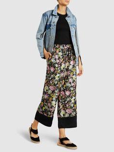 3.1 Phillip Lim Cropped Floral-Print Silk Trousers, Black