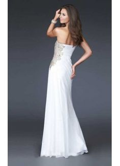 Cheap Bridal Shop Amazing Good Quality A-line Strapless Appliques And Ruffles Chiffon Floor Length Prom Dress